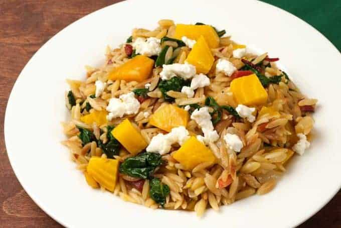 Orzo with Roasted Beets, Greens and Goat Cheese