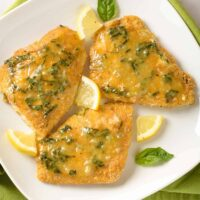 Oven-Fried Fish with Lemon Basil Butter
