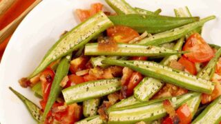 Roasted Okra with Bacon and Tomatoes