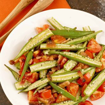 Oven Roasted Okra with Bacon and Tomatoes