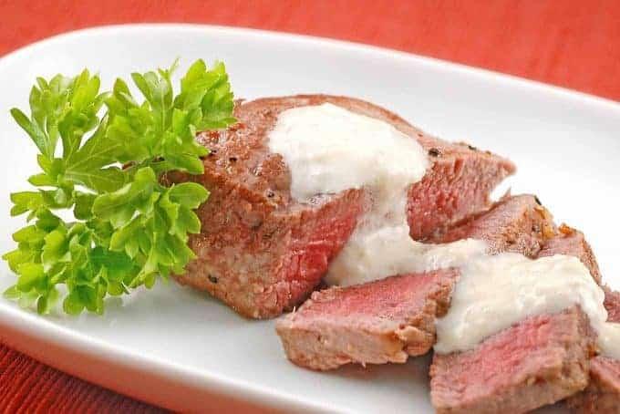 Pan-Seared Filet With Gorgonzola-Horseradish Sauce
