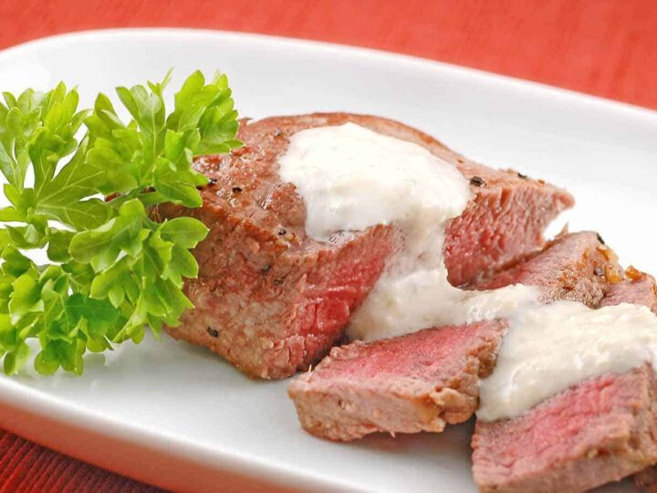 Pan Seared Filet With Gorgonzola Horseradish Sauce Recipe Mygourmetconnection