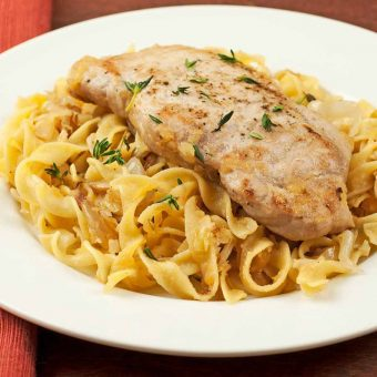 Pan-Seared Pork Chops with Apple-Cabbage Noodles