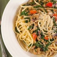 Pasta with Crumbled Sausage and Spinach