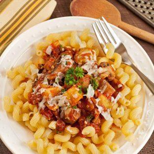 Pasta with Eggplant and Mushroom Ragu