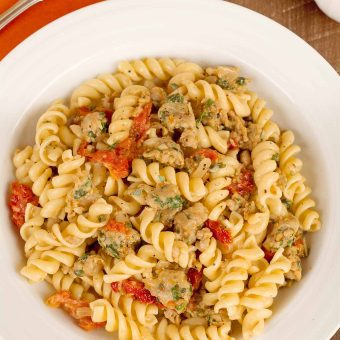 Pasta with Sausage, Sun Dried Tomatoes and Orange