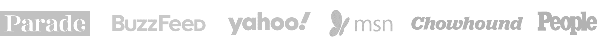 Logos: Parade, Buzzfeed, Yahoo, MSN, Chowhound, People