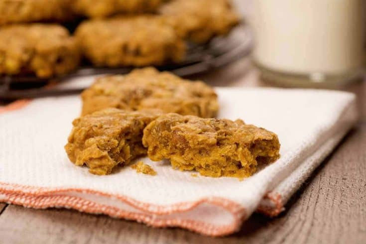 Adding pumpkin to a classic recipe for oatmeal raisin cookies turns them into a delicious treat with just the right amount of sweetness and spice. #pumpkincookies #pumpkinoatmealcookies #cookies #cookierecipes #pumpkinrecipes