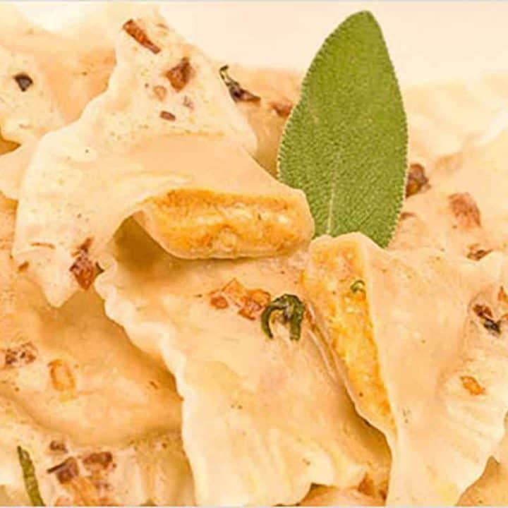 Pumpkin Sage Ravioli with Red Wine Cream Sauce