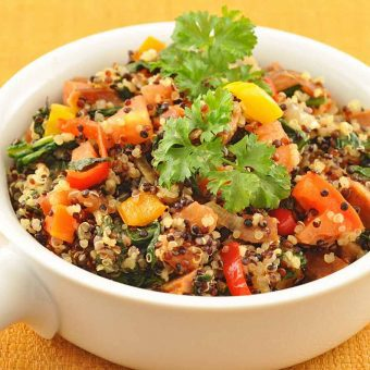 Rainbow Quinoa with Chorizo-Vegetable Medley