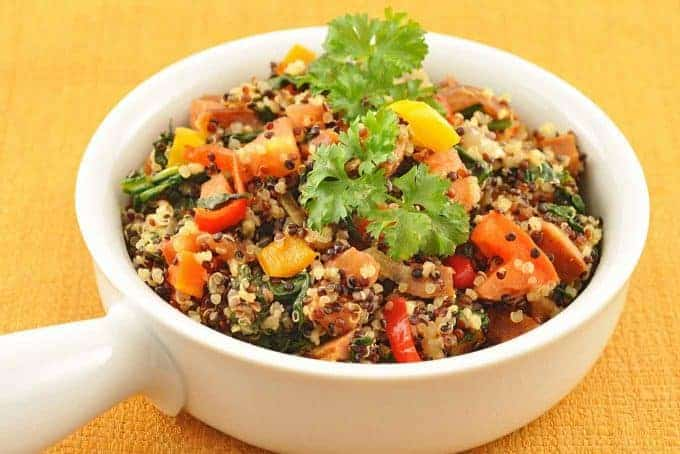 Rainbow Quinoa with Chorizo-Vegetable Medley