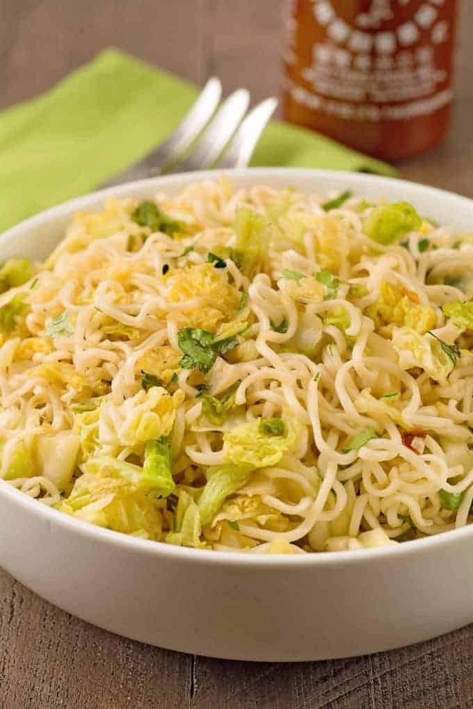 Ramen Cabbage Noodles with Sriracha-Garlic Butter