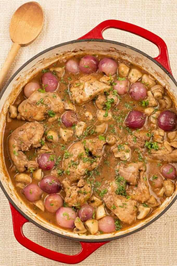 Red Wine Braised Chicken Thighs