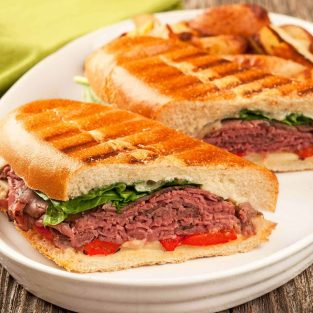 Roast Beef Panini with Garlic-Gorgonzola Mayo