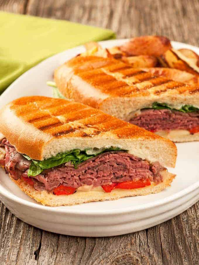 Roast Beef Panini with Garlic-Gorgonzola Mayo
