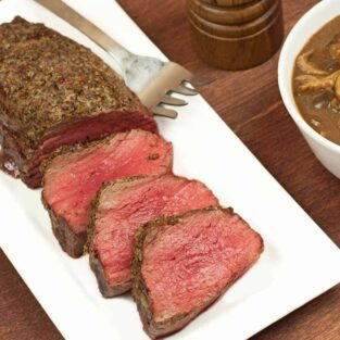 Roasted Beef Tenderloin with Mushroom-Port Sauce
