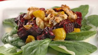 Roasted Beet, Walnut and Baby Spinach Salad