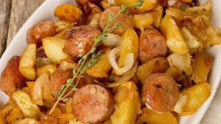 Roasted Chicken Sausage with Potatoes and Apples