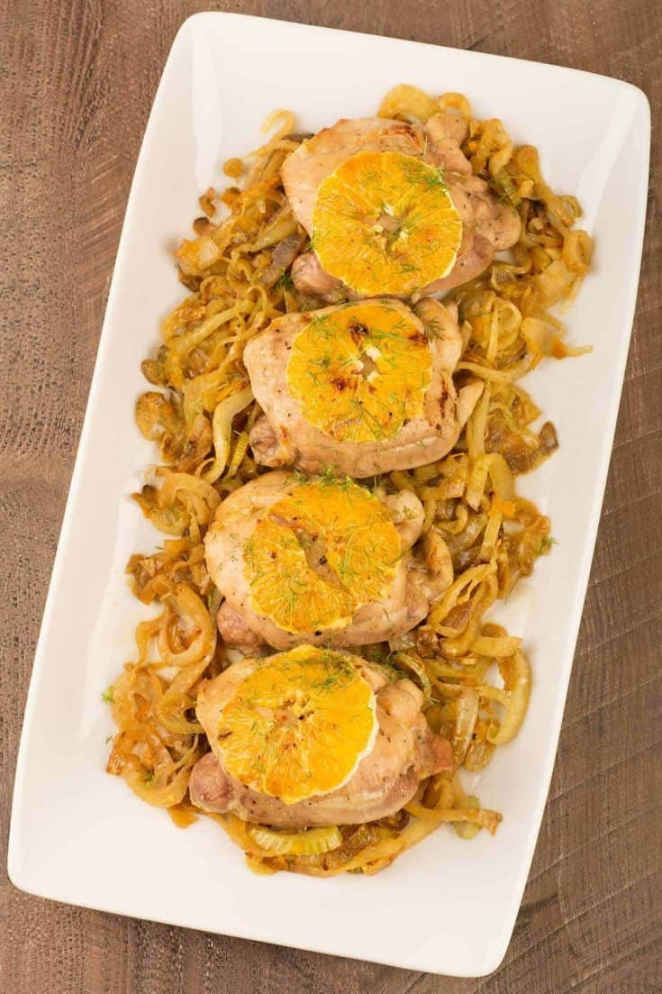 The sweet, mellow flavor of caramelized fennel combined with fresh orange zest is a delicious accompaniment for these oven-roasted boneless chicken thighs. #chickenthighs #chickenrecipes #chickenfennel #roastedchickenthighs