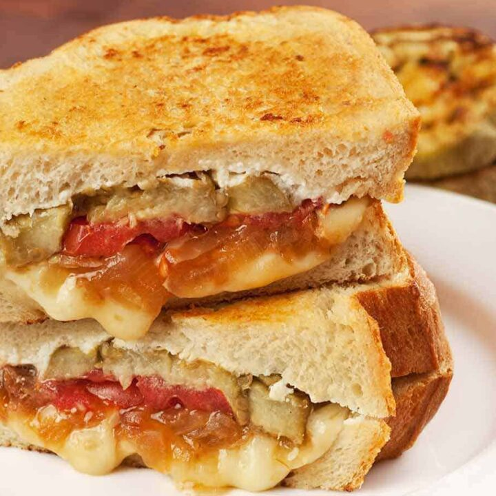 Roasted Eggplant and Caramelized Onion Grilled Cheese