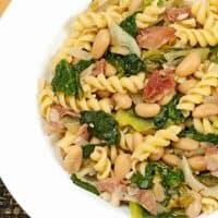 Rotini With Escarole, White Beans and Prosciutto