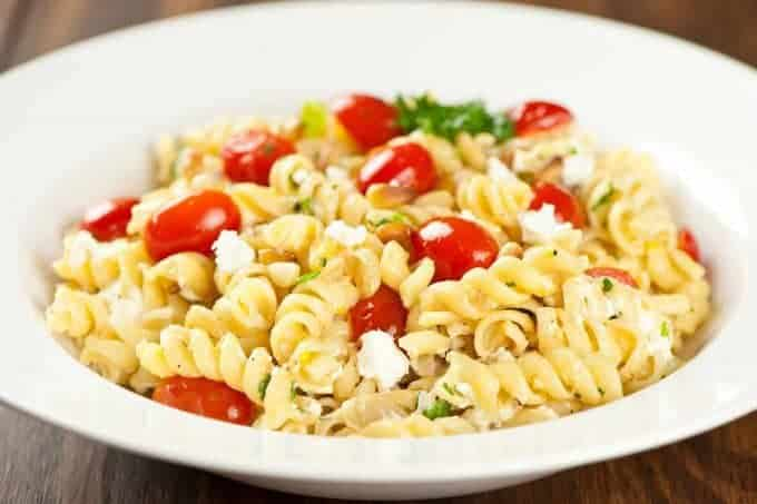 Rotini With Goat Cheese, Pine Nuts And Tomatoes