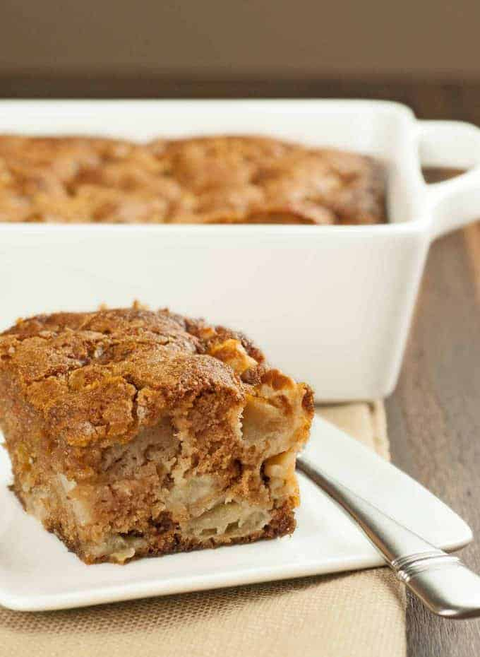 Rum-Spiced Apple Pudding Cake slice
