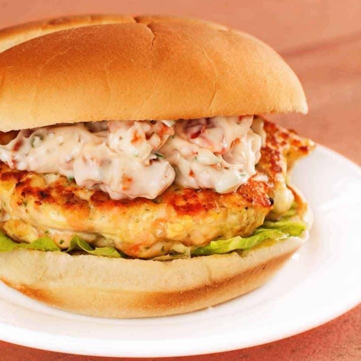 Salmon Burgers w/Sun-Dried Tomato-Chive Mayo