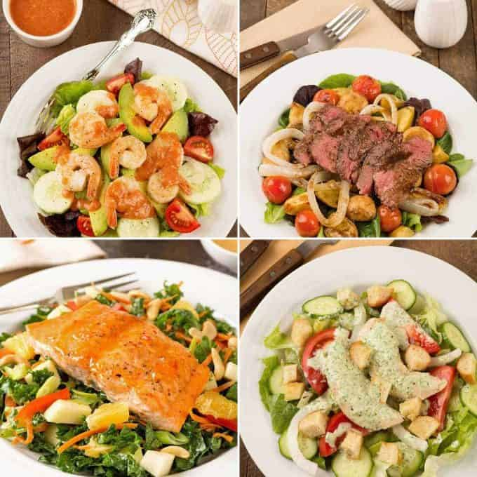 Collage of four recipes: Shrimp Cocktail Salad, Steak and Potato Salad, Salmon and Kale Salad, Chicken Salad with Herb Dresssing