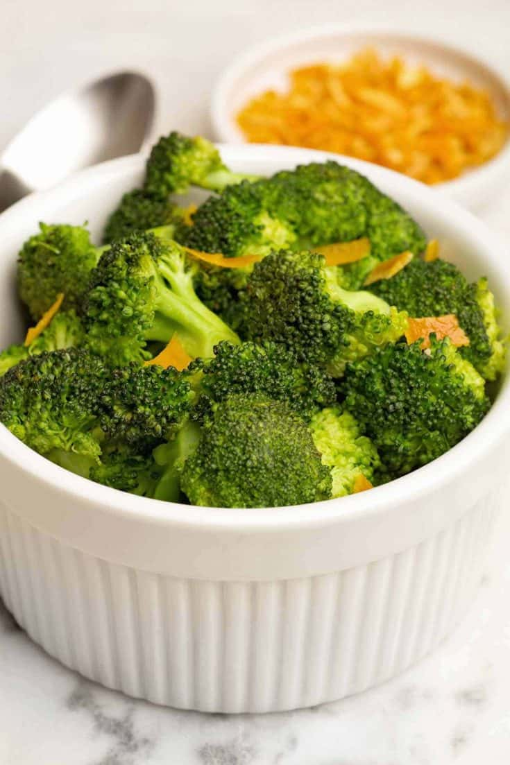This easy sautéed broccoli recipe is very quick to make and includes dried orange peel for added depth of flavor. #broccolirecipes #broccoli #vegetables #sidedishes