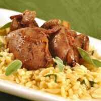 Sauteed Chicken Livers with Onion, Bacon and Sage