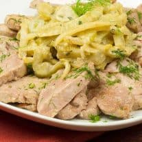 Sautéed Pork Medallions with Creamy Braised Fennel