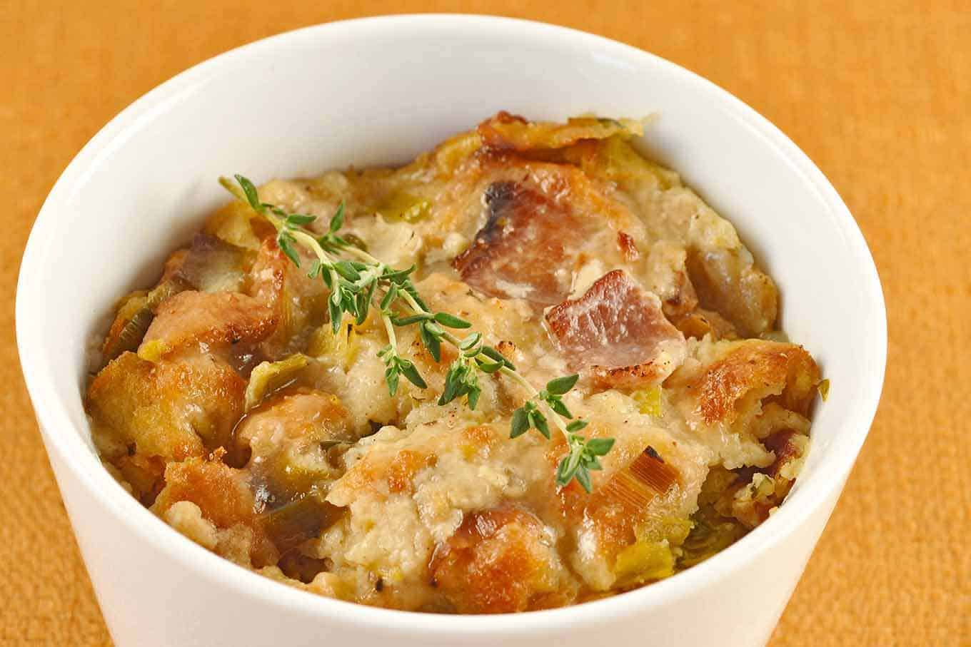 Savory Bacon, Leek and Thyme Bread Pudding