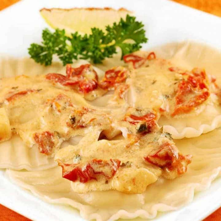 Scallop Ravioli with Sun Dried Tomato Sauce