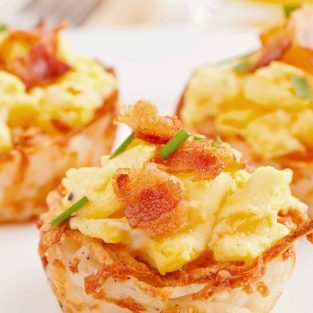 Scrambled Eggs in Potato Nests