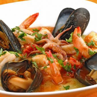 Seafood Medley in Tomato-Butter Sauce