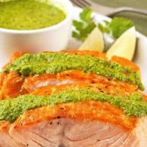 Seared Salmon Fillets with Cilantro Pesto