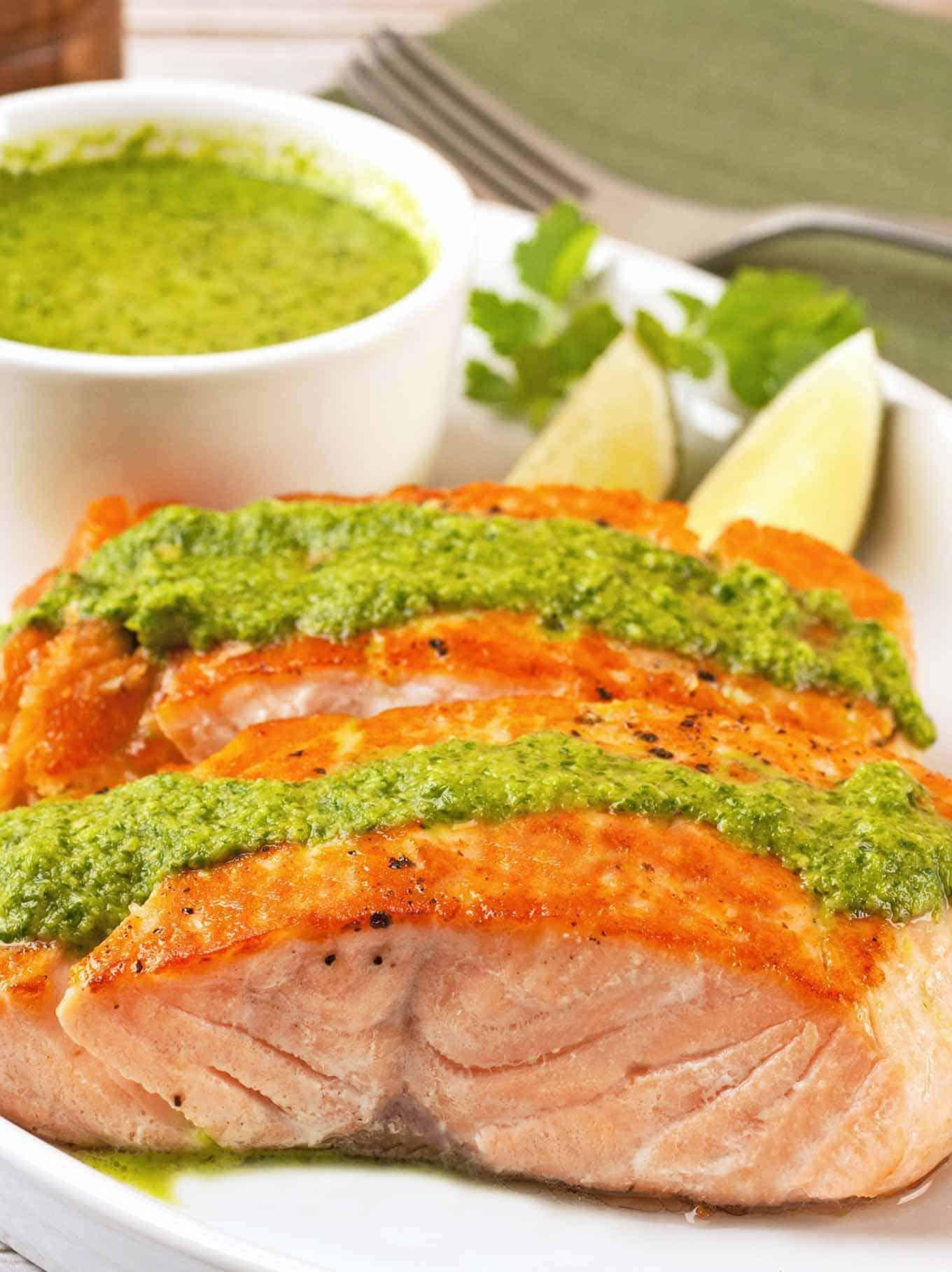 Seared Salmon Fillets with Cilantro Pesto