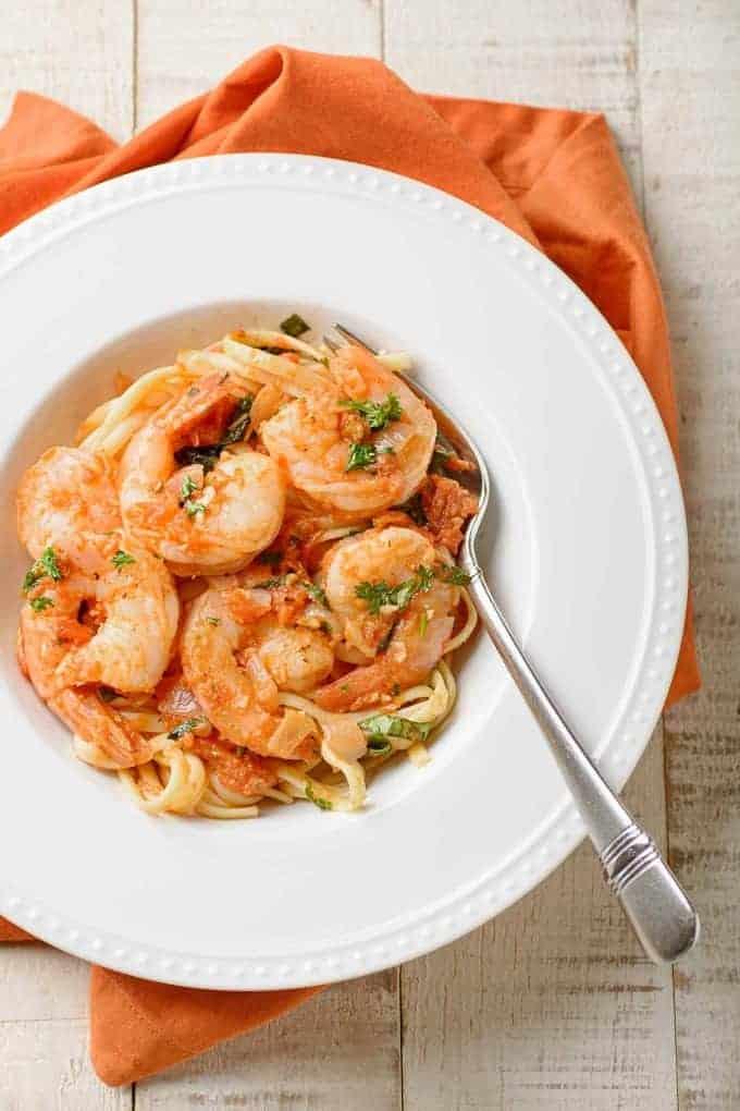 Shrimp fra Diavolo (Spicy Shrimp with Linguine)