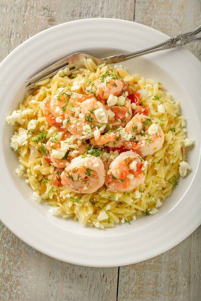 Shrimp with Orzo, Feta and Dill