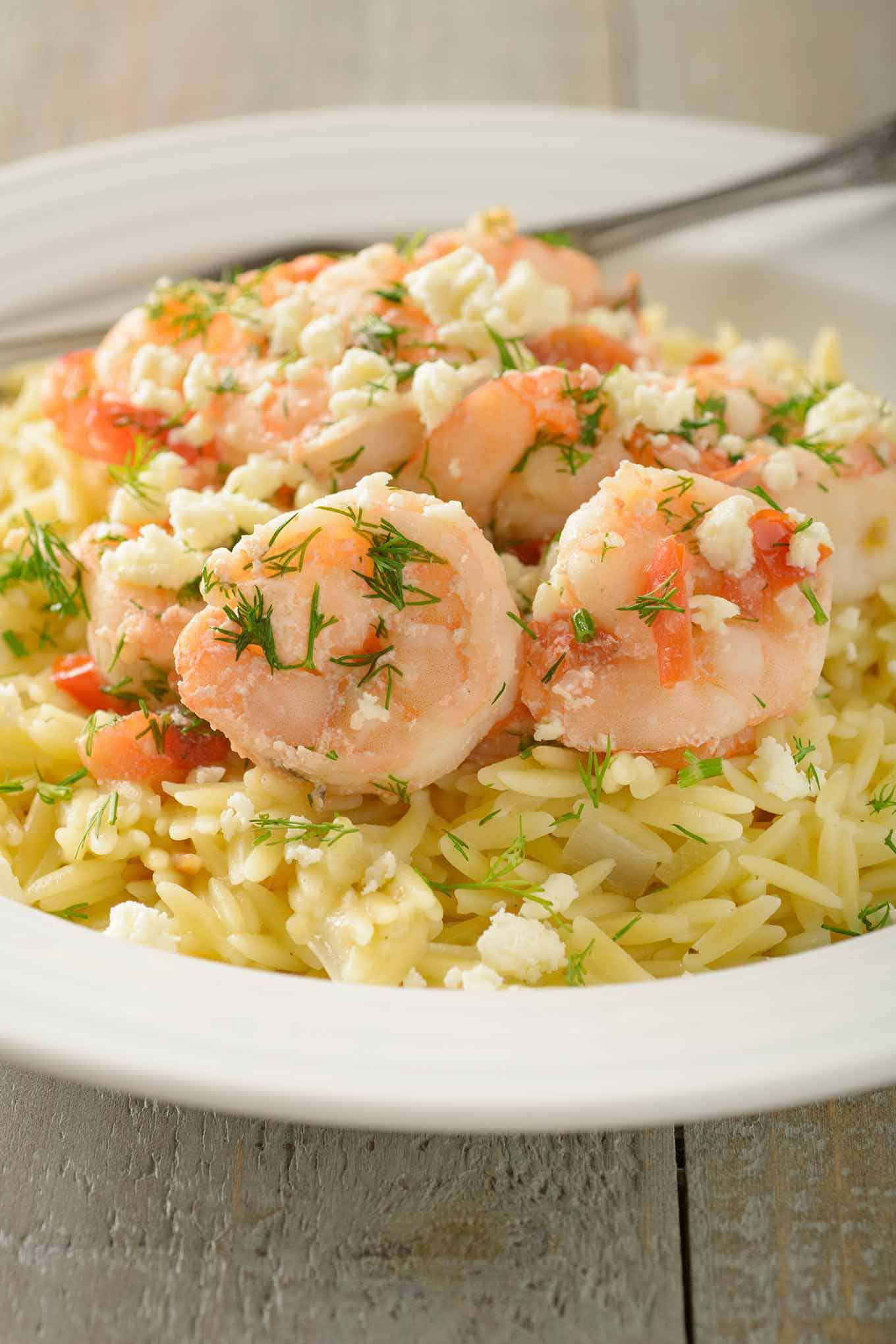 Shrimp and Orzo Topped with Feta and Fresh Dill