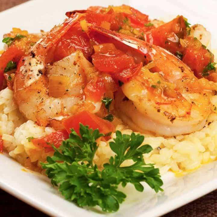 Pan-Seared Shrimp with Saffron-Tomato Sauce