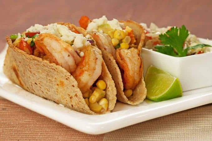 Shrimp Tacos with Corn and Avocado Salsa
