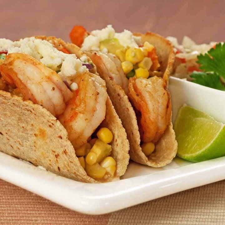 Shrimp Tacos with Corn and Avocado Salsa