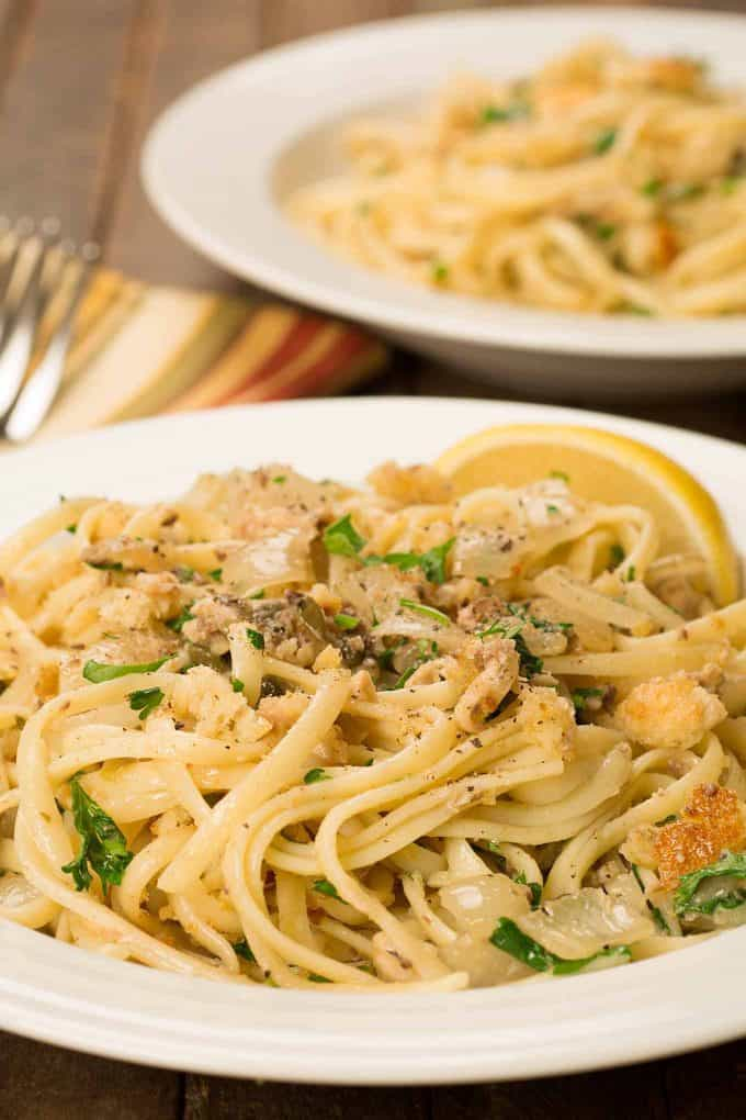 Sicilian Pasta with Sardines, Onions and Breadcrumbs