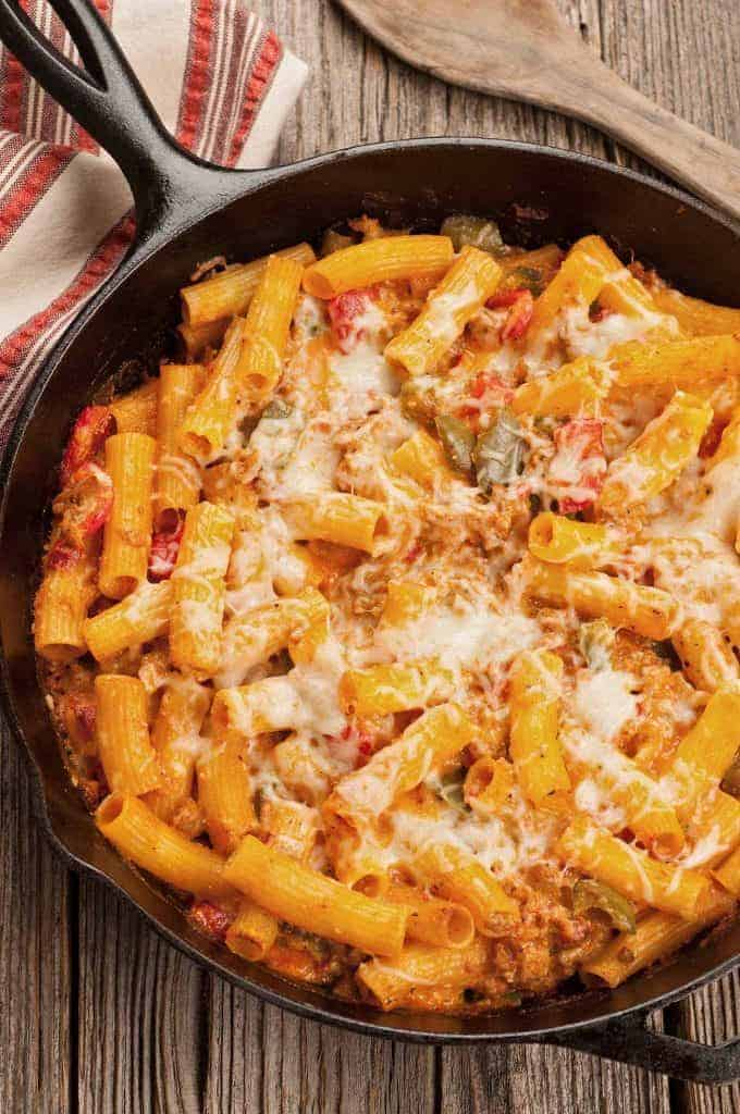 Skillet Baked Ziti with Sausage and Peppers