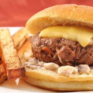 Smoked Paprika-Bacon Burgers w/Roasted Onion Mayo