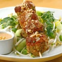 Southeast Asian Turkey Meatballs w/Peanut Sauce