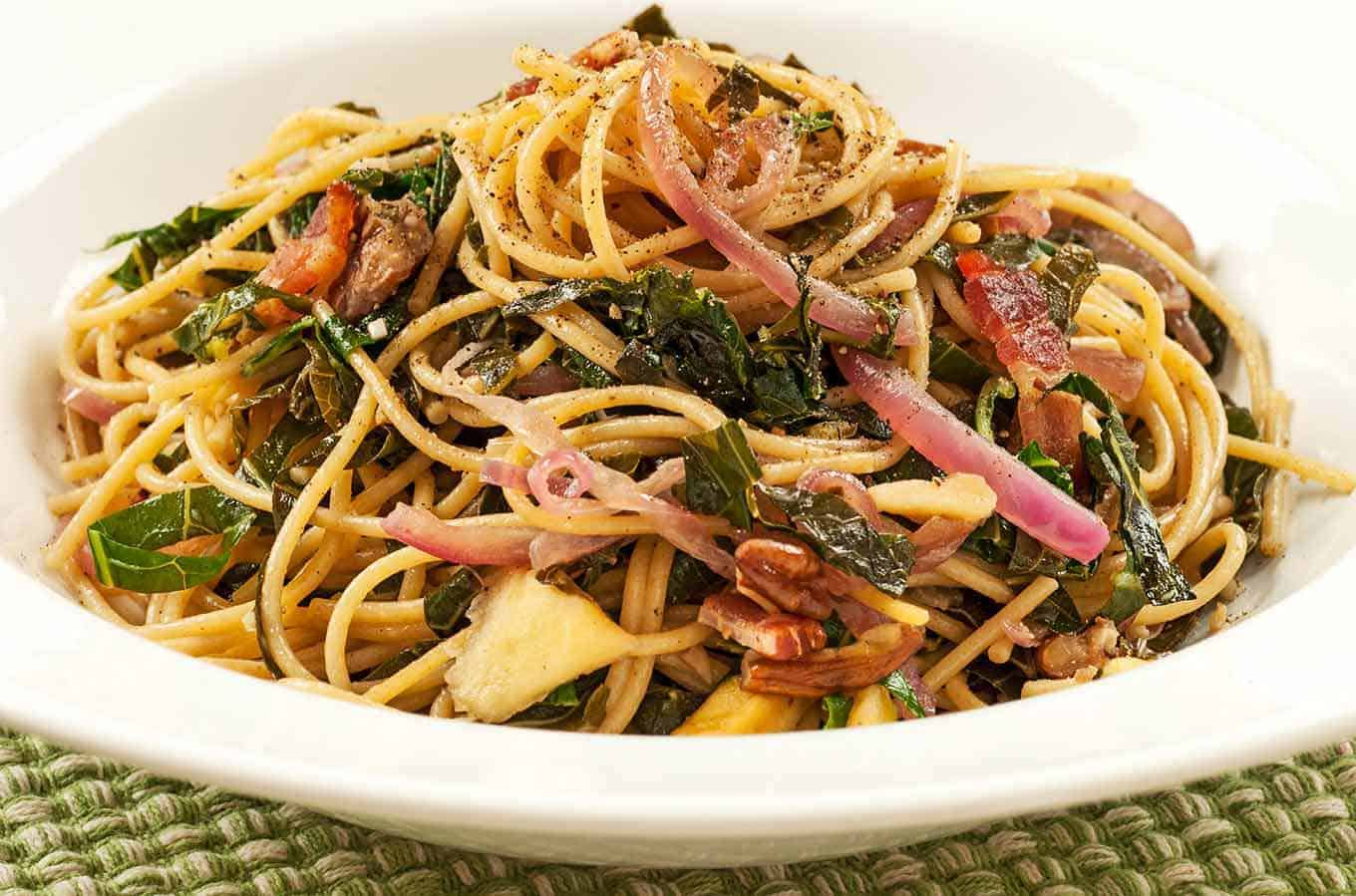 Southern-Style Spaghetti with Collards and Bacon