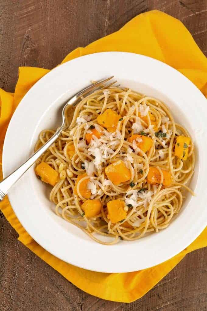 Spaghetti with Roasted Butternut Squash and Sage